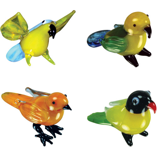 BrainStorm Looking Glass Miniature Glass Figurines, 4-Pack, Polly Parrot/Paris Parrot/Carrie Canary/Lindsay Lovebird