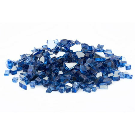 "Image of ""Dragon Glass 25 lb Reflective Tempered Fire Glass, 1/4"""", Cobalt Blue"""