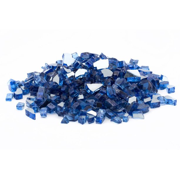 Dragon Glass 25 Lb Reflective Tempered Fire Glass 1 4 Cobalt Blue Walmart Com Walmart Com