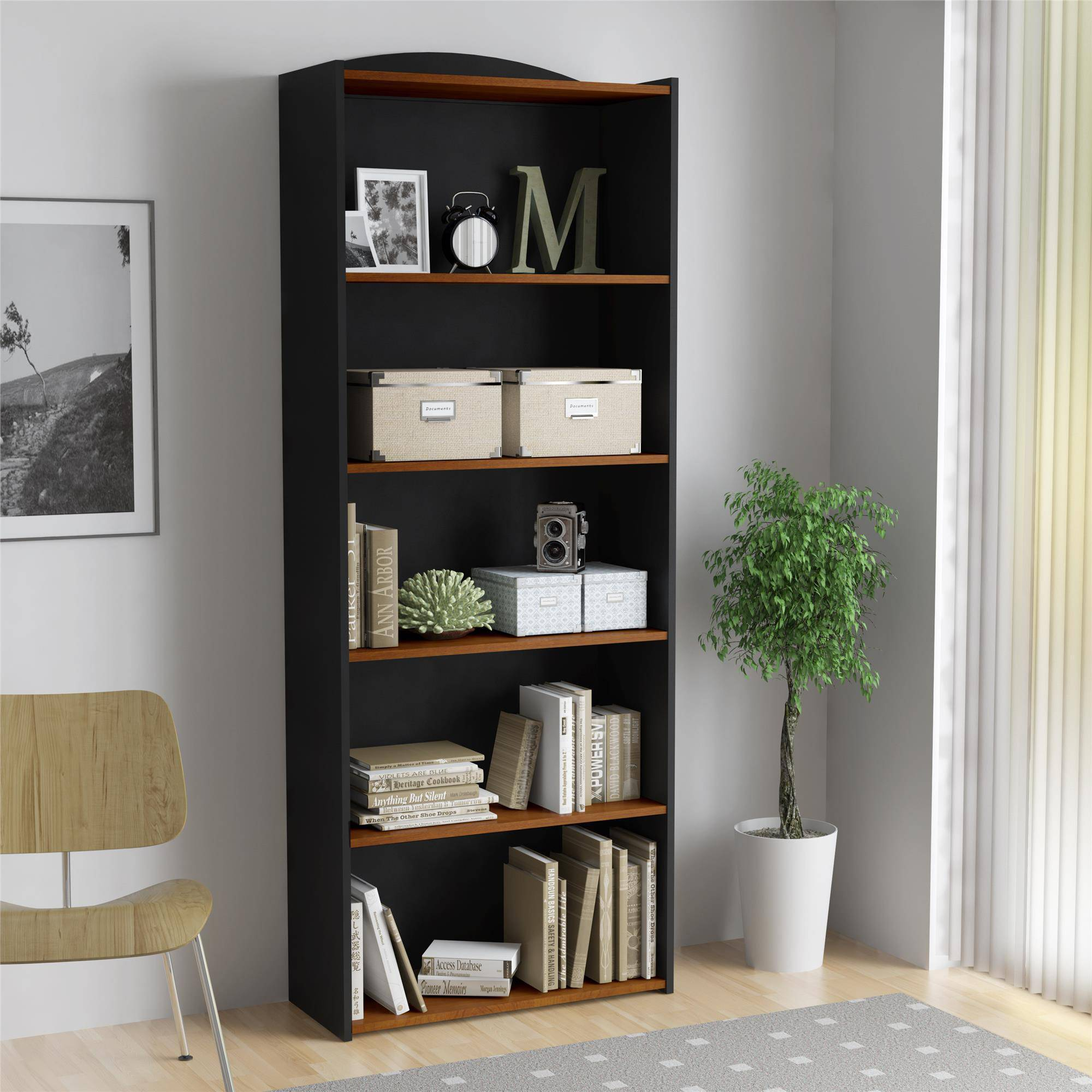 Mainstays 5-Shelf Bookcase, Multiple Colors
