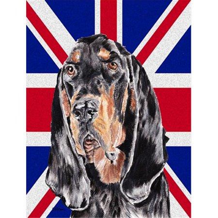 Black And Tan Coonhound With Engish Union Jack British Flag Flag Garden