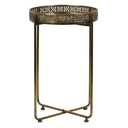 Urban Trends Mirror Top Pierced Metal Accent Table on Pedestal (Traditional Pedestal Base)