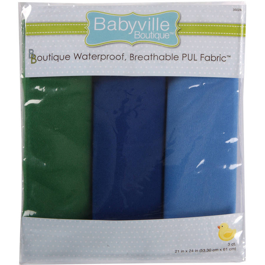 "Babyville PUL Waterproof Diaper Fabric, 21"" x 24"" Cuts, 3pk"