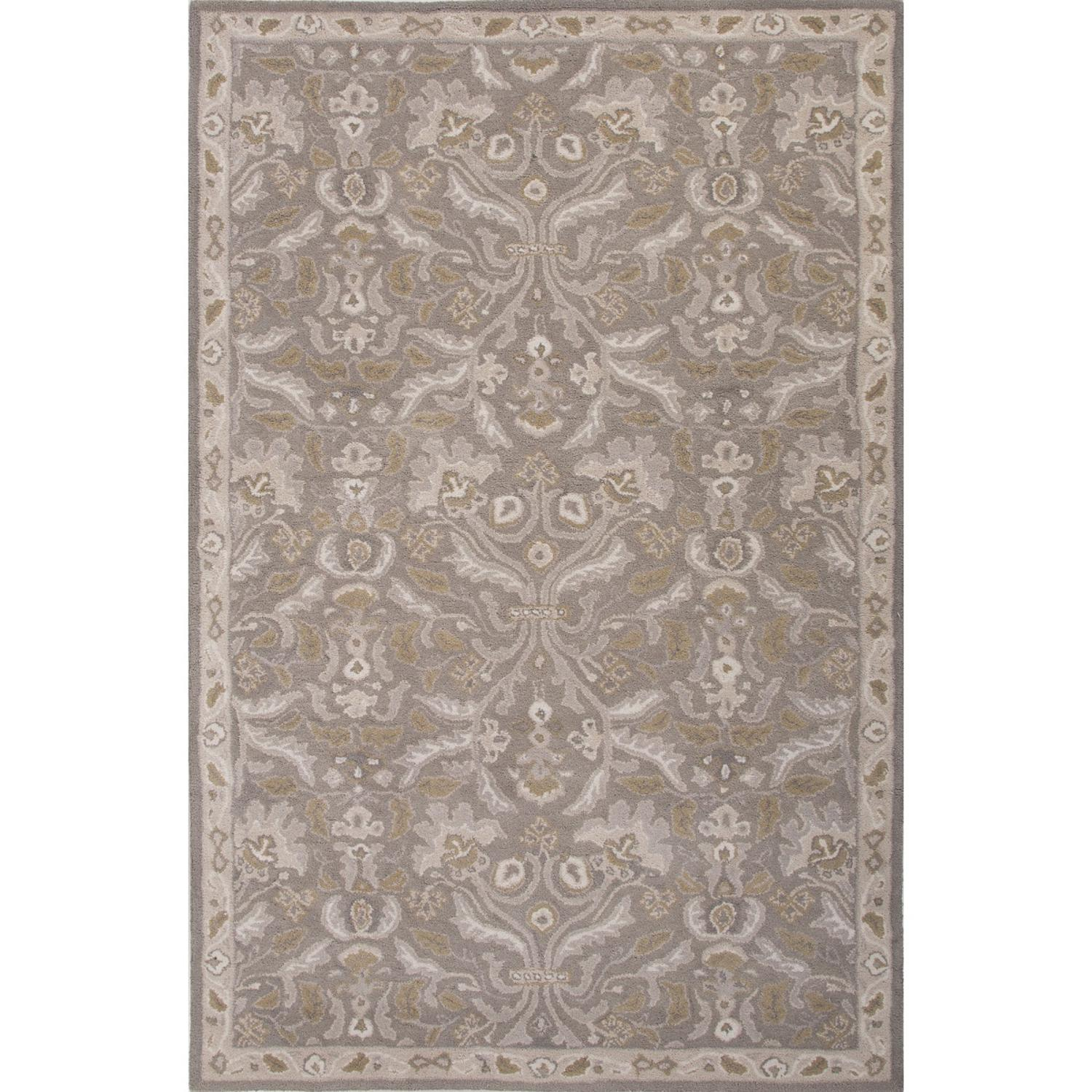 2' x 3' Stone Gray, Olive Yellow and Ash Gray Corsica Transitional Hand Tuft Wool Area Throw Rug