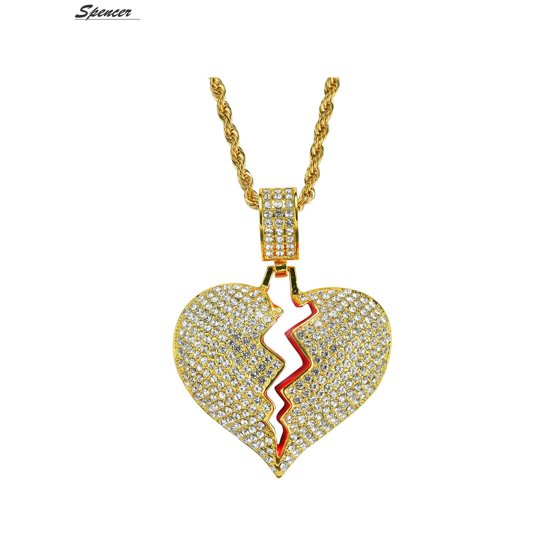 1d583c925dec1 Spencer Iced Out Cubic Zirconia Broken Heart Pendant Necklace for Men and  Women
