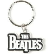 Beatles Drop T Logo (White) Metal Key Chain Silver