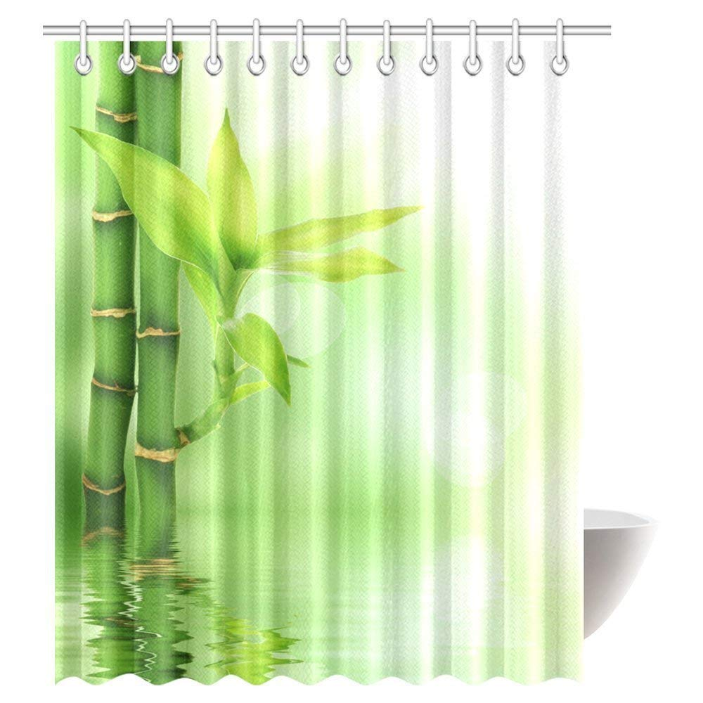 GCKG Bamboo House Decor Shower Curtain Mildew Resistant Bathroom Zen Garden Theme View For Magical Fabric With Hooks
