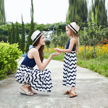 Mother Daughter Sleeveless Striped Casual Tank Maxi Long Dress Family Matching Shirt Outfits Summer Womens Girls Beach Dresses