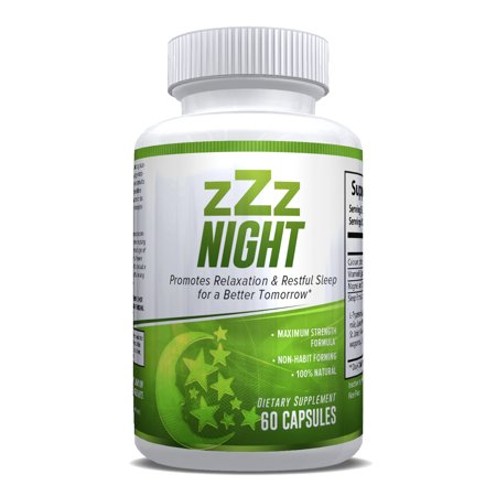 zZz Night Natural Sleep Aid - Non-Habit Sleeping Pills with Melatonin, Valerian, Chamomile & More - Promotes Relaxation & Restful Sleep for a Better Tomorrow - 60 Capsules - Money Back