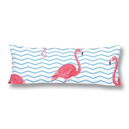 ABPHOTO Flamingo Blue Pink Watercolor Beautiful Animal Tropic Body Pillow Covers Case Protector 20x60 inch ()