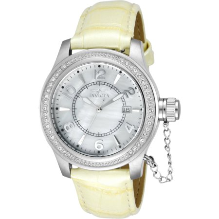 INVICTA CORDUBA SWISS MOVEMENT QUARTZ WATCH - STAINLESS STEEL CASE WITH WHITE TONE LEATHER BAND - MODEL 12409