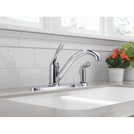 Delta Faucet 400-DST Classic Kitchen Faucet with Side Spray - - Brilliance Stainless