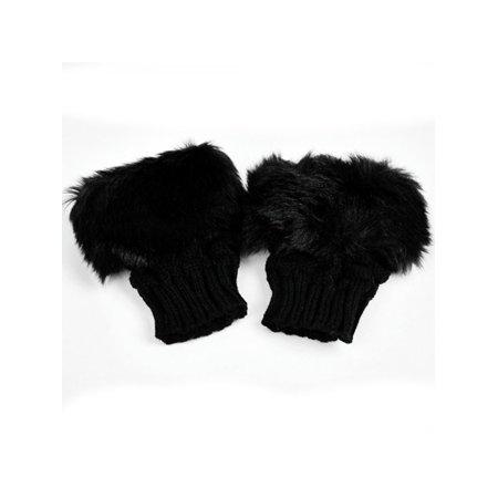 Women WinterFaux Rabbit Fur/Villi Gloves Arm Warmer Fingerless Wrist Gloves-Knitted Fur Trim Gloves Mitten Knitted Wrist Un RllYE