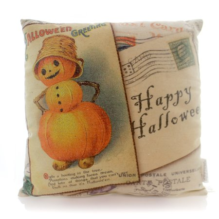 Halloween JACK COLLAGE VINTAGE PILLOW Fabric Pumpkins Greetings 21224