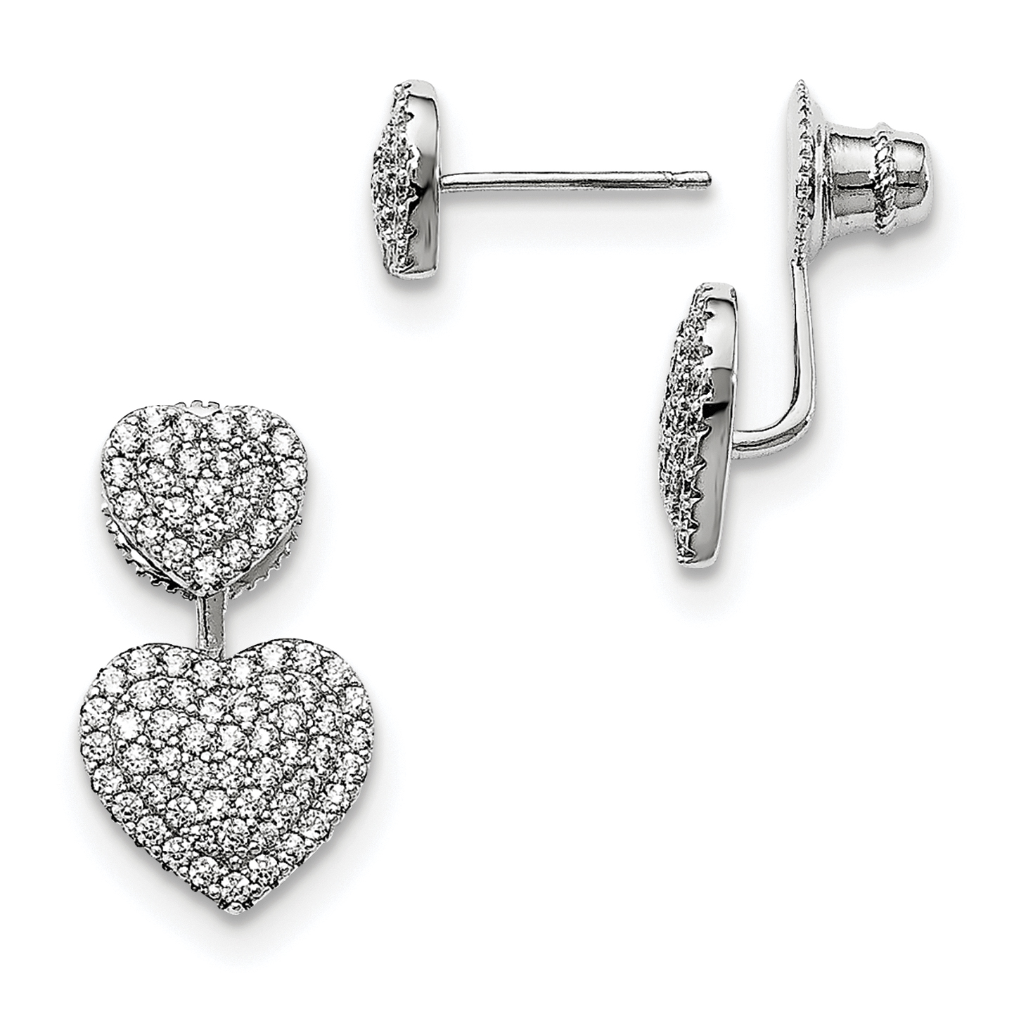 ICE CARATS 925 Sterling Silver Cubic Zirconia Cz Hearts Post Stud Earrings Drop Dangle Love Fine Jewelry Ideal Gifts For Women Gift Set From Heart