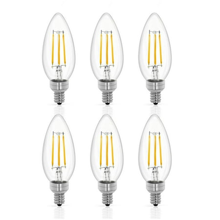 - Tenergy LED Candelabra Bulbs Dimmable, 4W (40 Watt Equivalent) Warm White Soft White (2700K) E12 Base Decorative B11/C37 Filament Candle Bulbs for Chandelier/Ceiling Fan (Pack of 6)