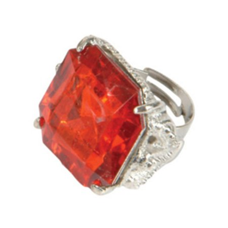 Solid Rhinestone Ring (deluxe jumbo adult vintage hollywood starlet costume red rhinestone bling ring )