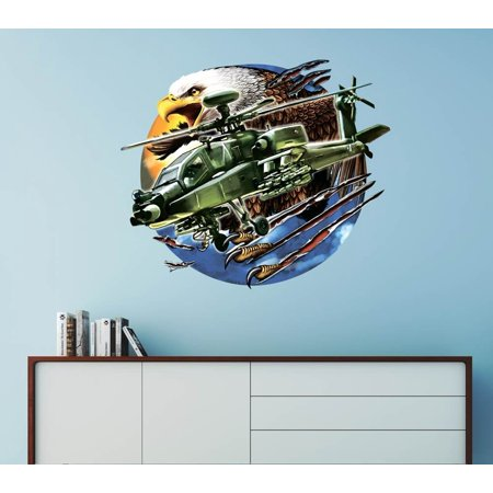 Apache Helicopter American Military - Wall Decal Wall Decoration Sticker Sticker