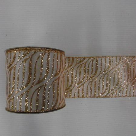 "Vickerman 2.5"" Cream and Gold Zebra Christmas and Craft Ribbon"