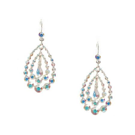 Silver Aurora Borealis Rhinestone Chandelier Hook Dangle Earrings