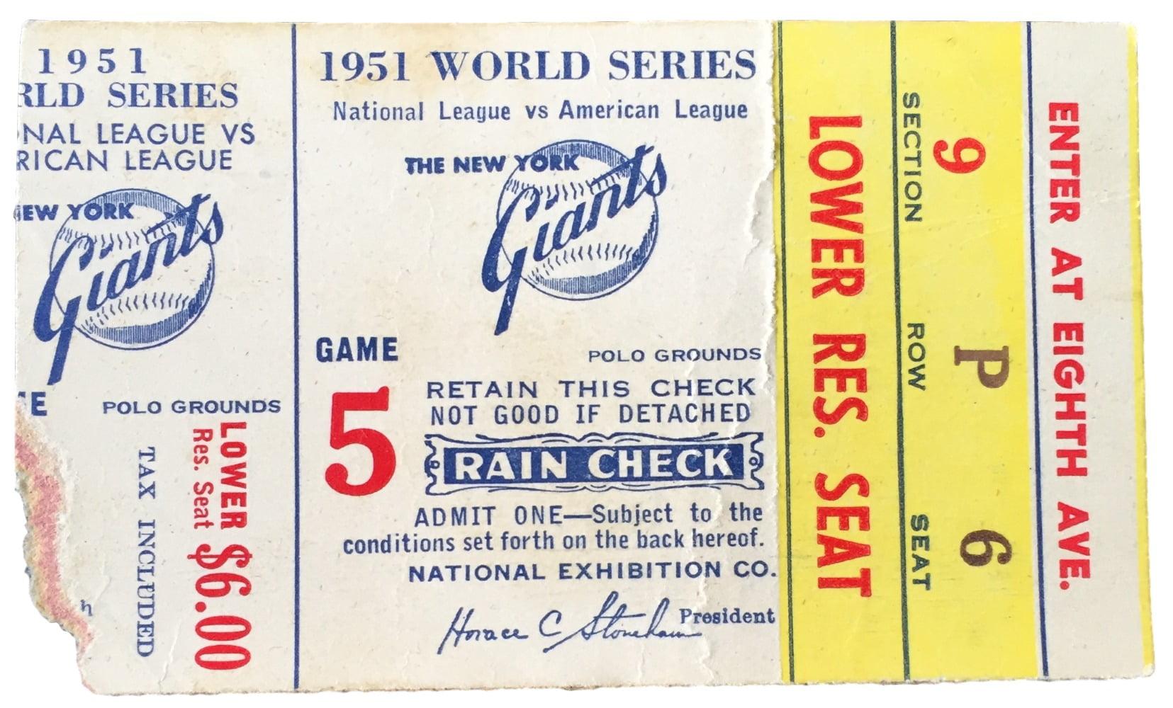 1951 World Series Game 5 Ticket Stub New York Yankees vs San Francisco Giants by Sports Integrity