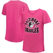 Baltimore Orioles New Era Girls Youth Jersey Stars V-Neck T-Shirt - Pink