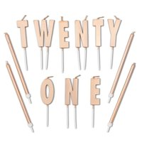 """33 Count Rose Gold Long Thin 21st Birthday Cake Candles with Holder and Letter Candle """"TWENTY ONE"""" Dessert Cake Topper Value Pack, for Women Girls Party Decoration Celebration"""
