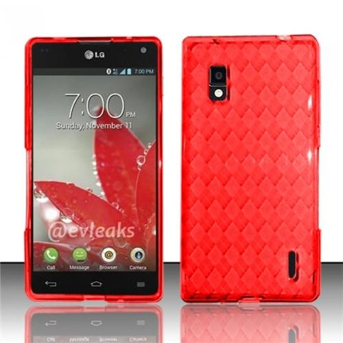 Insten Red TPU Soft Gel Skin Case Cover w/ Pattern For LG Optimus G E970
