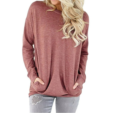 (Nlife Women Solid Color Front Pocket Long Sleeve Autumn Casual Top)