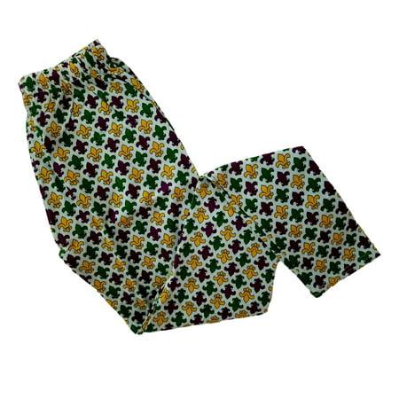 Ladies Fleur De lis Purple Green Yellow Mardi Gras L/XL Legging Soft - Mardi Gras Pants