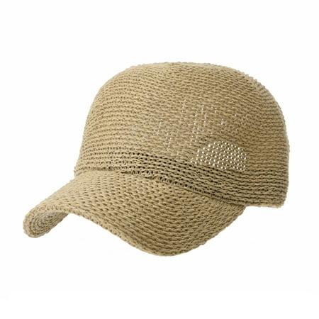0b8eaef1d WITHMOONS Baseball Cap Summer Cool Paperstraw Cotton Mesh Ballcap For Men  Women KR1960 (Beige)
