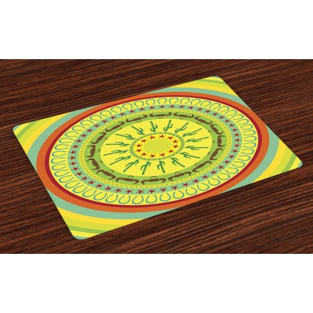 Southwestern Placemats Set of 4 Wild West Cowboy Themed Mandala Design Colorful Circles Bull Horns Saguaro, Washable Fabric Place Mats for Dining Room Kitchen Table Decor,Multicolor, by Ambesonne](Theme Cowboy)