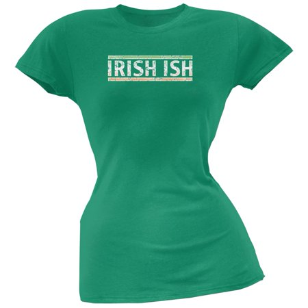 St Patricks Day - Irish Ish Funny Kelly Green Juniors Soft T-Shirt