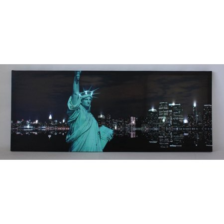 LED Lighted Statue of Liberty with New York City Skyline Canvas Wall Art 15.75