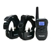 Rechargeable 2 Dog Shock Training Collar 330 Yards Static Shock Vibration Beep Light