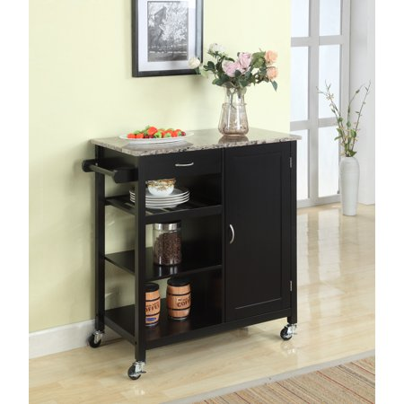 - Pilaster Designs Clayton Black & Marble Contemporary Kitchen Island Display Serving Cart With Storage Drawer, Cabinet & Shelves