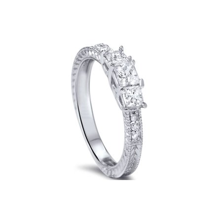 5bc977e1b37c3 1/2ct Vintage Three Stone Princess Cut Diamond Engagement Ring 14K ...