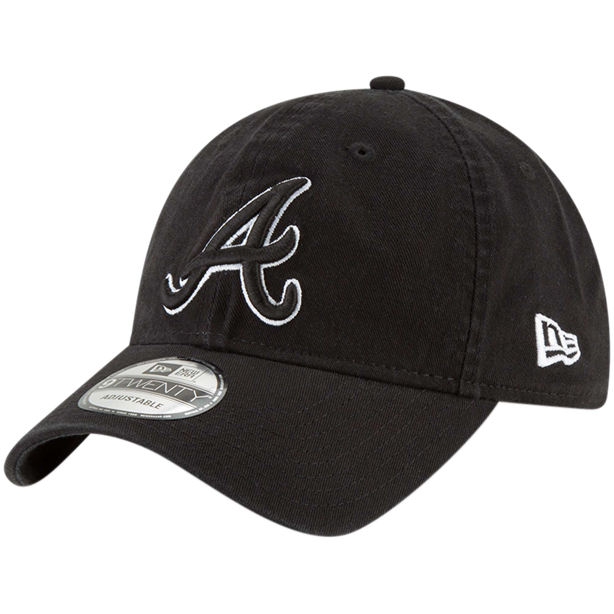 Atlanta Braves New Era Core Classic Twill 9TWENTY Adjustable Hat - Black - OSFA