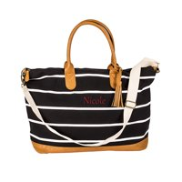 Personalized Striped Canvas Duffel Weekender Tote