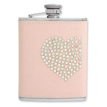 6 oz Pink Leather Stainless Steel Heart/Stone