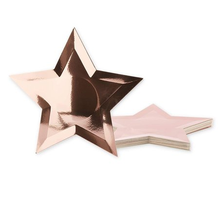 Juvale 36-Pack Rose Gold Foil Star Shaped Paper Plates For Appetizers, Dessert, Party Supplies, Graduation, 10.7 Inches ()