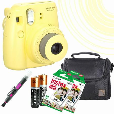 Mini 8 Instant Film Camera (Yellow) - 20 Instant Film -quality photo Case - batteries - spray/brush pen