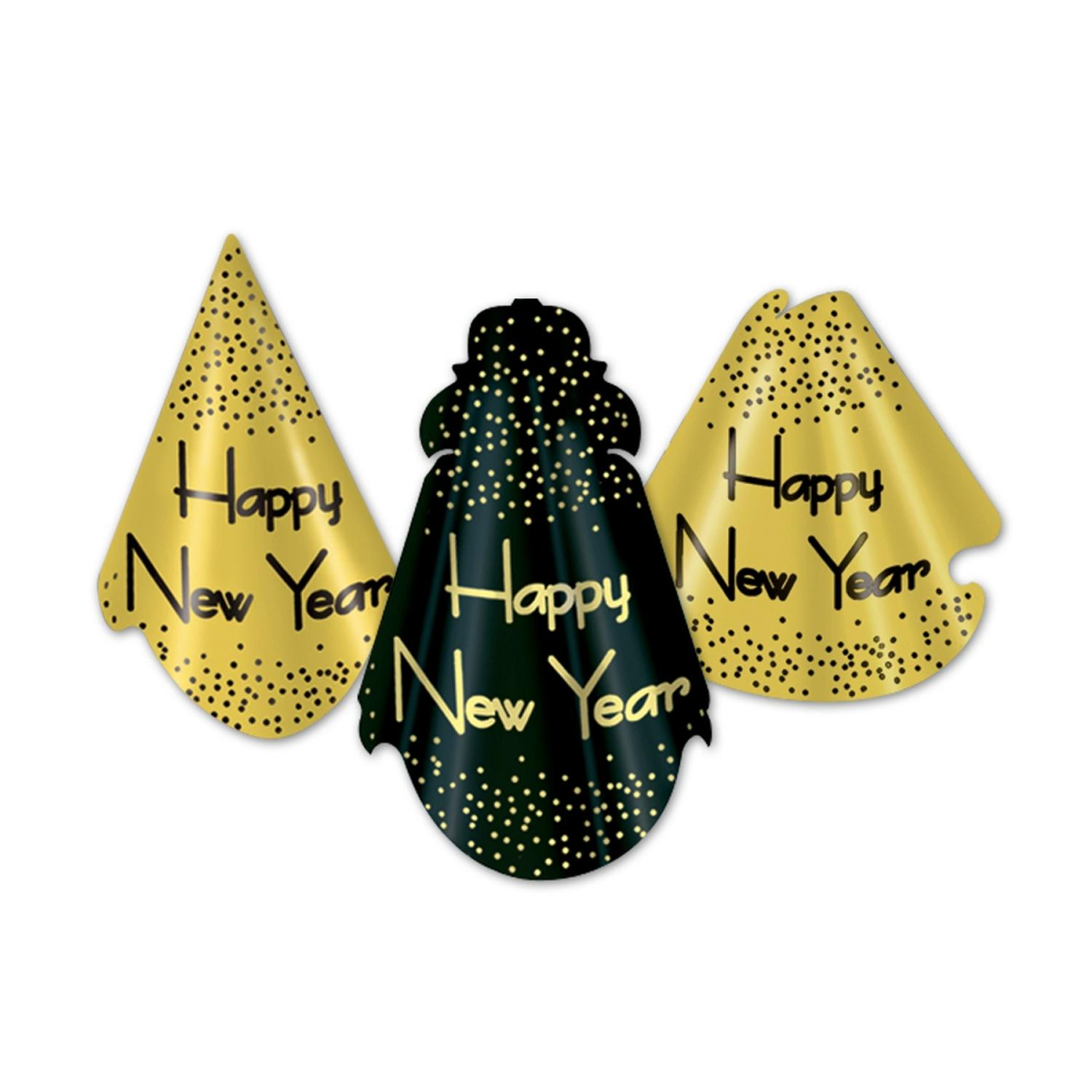 """Club Pack of 50 Sparkling Gold """"Happy New Years"""" Legacy Party Favor Hats"""
