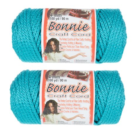 2 Pack Bonnie Macrame Cord - 4mm - 100 yd Lengths - Various Colors Blue Silk Cord