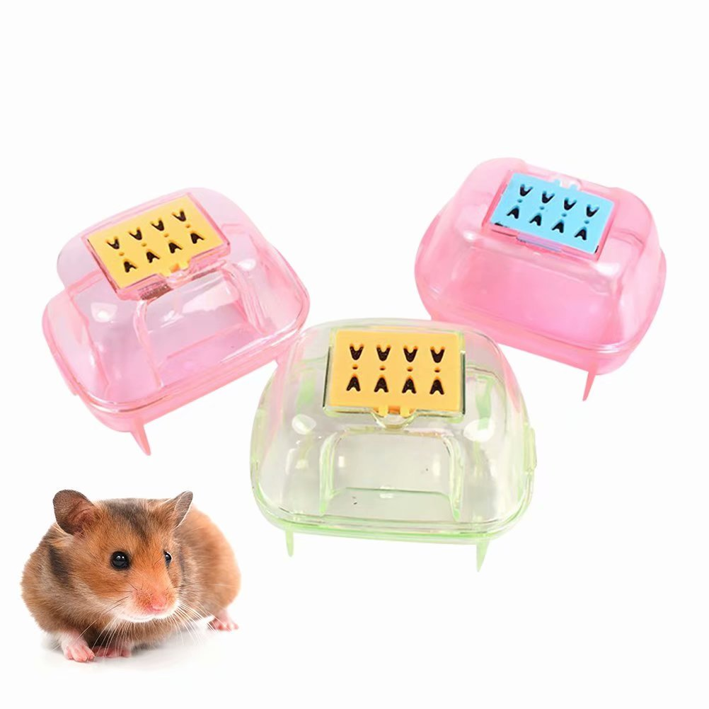 Pet Hamster Mouse Plastic Bathroom Sand Room Sauna Toilet Cage House Playing Habitat(Random Color) by