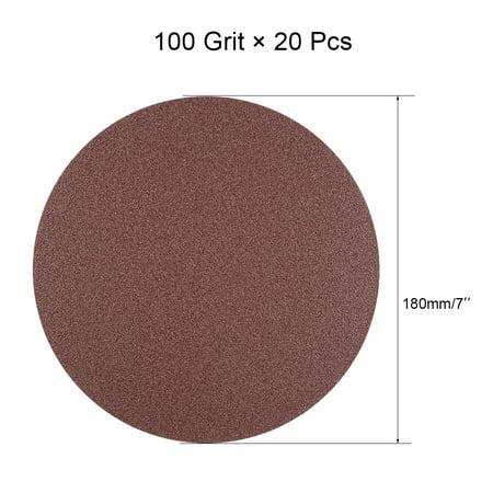 20Pcs 7 Inch Hook and Loop Sanding Disc 100 Grits Flocking Sandpaper Brown - image 3 of 4