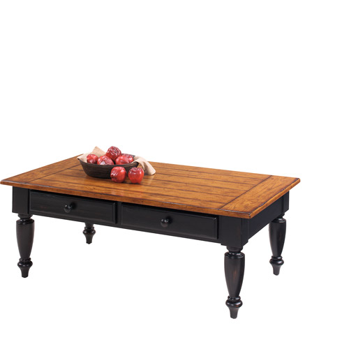 Country Vista Lift-Top Coffee Table, Antique Black and Oak