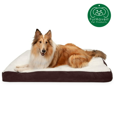 FurHaven Pet Dog Bed | Deluxe Sherpa & Suede Pillow Pet Bed for Dogs & Cats, Espresso, Extra Large