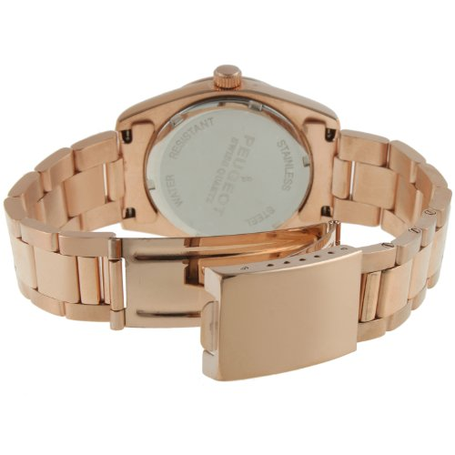 Peugeot Swiss 14K Rose Gold Plated Stainless Steel Black ...