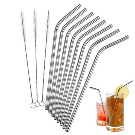 8Pcs Bend Stainless Steel NON-TOXIC Drinking Straws + 3Pcs Cleaner Brush Kit ()